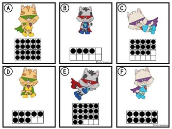 Counting Cards Ten Frames, Tally Marks & Base Ten Blocks Super Kitty