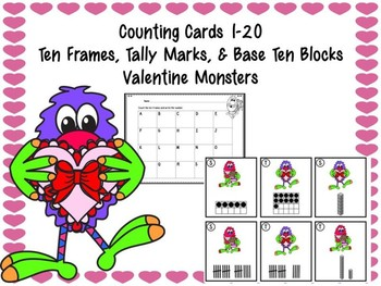 Counting Cards Ten Frames, Tally Marks & Base Ten Blocks Valentine Monsters
