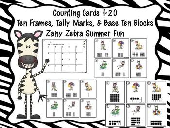 Counting Cards Ten Frames, Tally Marks & Base Ten Blocks Zebra
