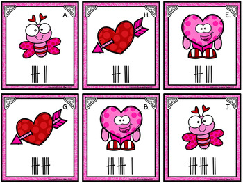 Counting Cards with Ten Frames and Tally Marks - Valentine's Day