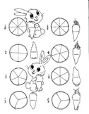 Spring Bunnies Counting Carrots first and second grade fractions math worksheet