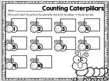 Counting Caterpillars { A Counting 1-20 Center} USA Version