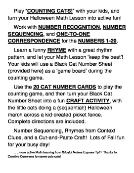 """Counting Cats!"" - Active Halloween Math Game and Craft"