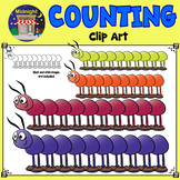 Counting Clip Art - Centipedes - Multi-Colored