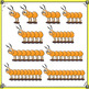 Counting Clip Art - Centipedes in Orange, Green and Purple