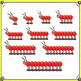 Counting Clip Art - Centipedes in Red, Blue and Yellow