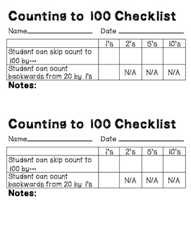 Counting Checklists - Skip Counting to 100 & 200