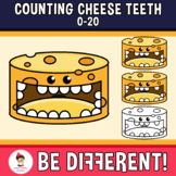 Counting Cheese Teeth Clipart (0-20) Dental Health Month Food
