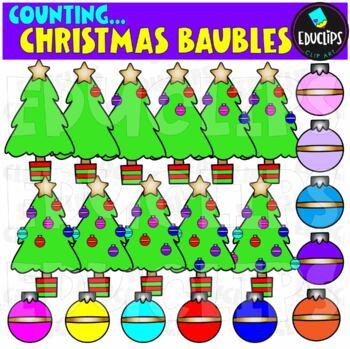 Counting Christmas Baubles Clip Art Bundle  {Educlips Clipart}