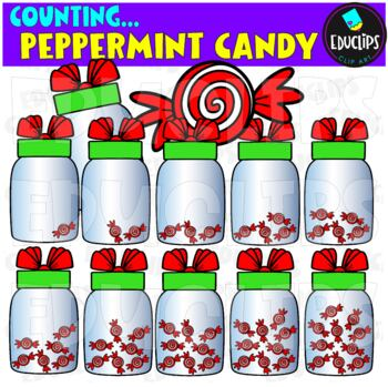 Counting Christmas Candy Clip Art Bundle  {Educlips Clipart}