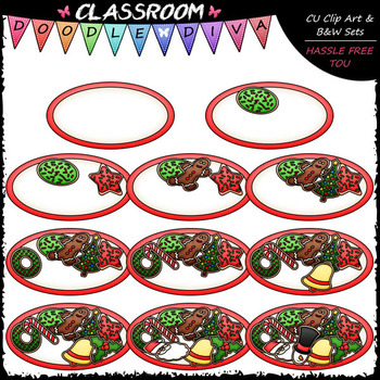 (0-10) Counting Christmas Cookies Clip Art - Sequence & Ma