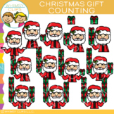 Counting Christmas Gifts with Santa Clip Art