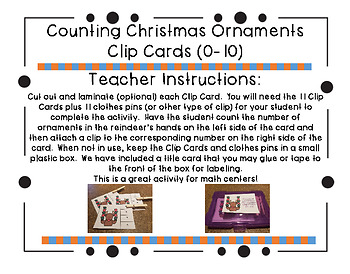 Counting Christmas Ornaments Clip Cards (0-10)