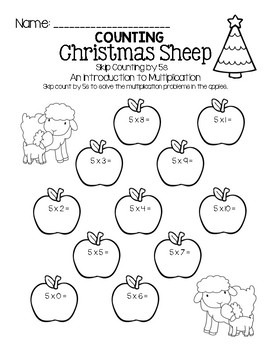 Counting Christmas Sheep - Skip Counting by FIVEs (An Intro to Multiplication)