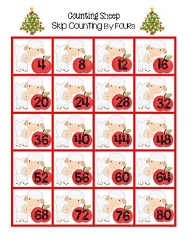 Counting Christmas Sheep - Skip Counting by FOURs (An Intro to Multiplication)