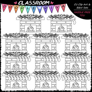 (0-10) Counting Christmas Stockings Clip Art - Sequence & Math Clip Art & B&W