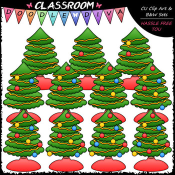 (0-10) Counting Christmas Tree Bulbs Clip Art - Counting & Math Clip Art & B&W