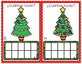 Counting Christmas Tree Lights Spanish Task Cards