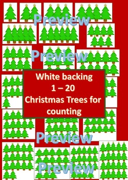 Counting Christmas Trees (1-20) Clipart three formats PNGS Numbers Counting