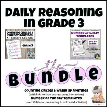 Counting Circles Warm up Routines & NOTD Templates REASONING BUNDLE Grade 3