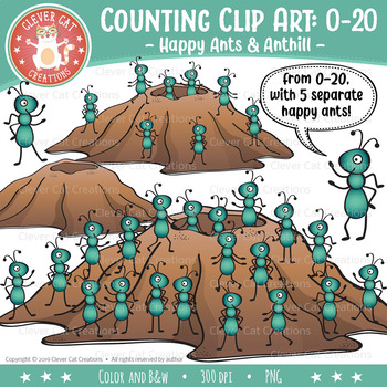Counting Clip Art 0-20: Ants