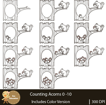 Counting Clip Art : Acorns   Fall Pictures