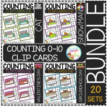 Counting Ten Frame Clip Cards 0-10: BUNDLE 1