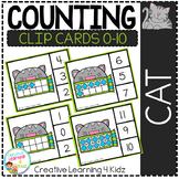 Counting Ten Frame Clip Cards 0-10: Cat