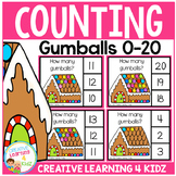 Counting Picture Clip Cards 0-20: Gingerbread House Gumballs