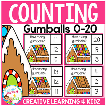 Counting Clip Cards 0-20: Gingerbread House Gumballs