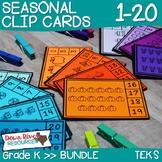 Counting Clip Cards 1-20 Seasonal Bundle | Kindergarten Math | English & Spanish