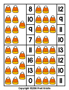 Counting Clip Cards: Candy Corn Theme