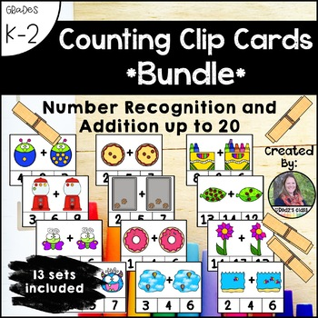 Counting Clip Cards, Number Recognition and Addition up to 20