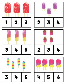 Counting Clip Cards: Popsicles