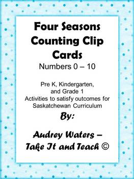 Counting Clip Cards Pre K, K, and Grade 1 Four Seasons Theme