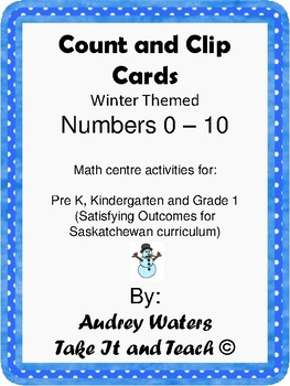Counting Clip Cards Pre K, K, and Grade 1 Winter Theme