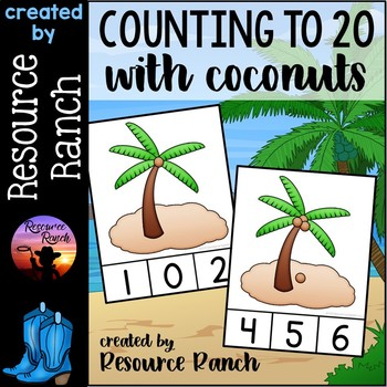 Counting Clip Cards and Reader|Coconuts 1-20