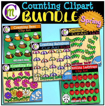 Counting Clipart BUNDLE Spring