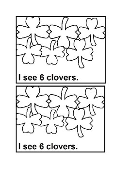 Counting Clovers Emergent Reader Book in Black & White for Preschool