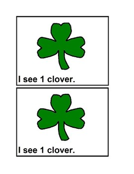 Counting Clovers in color Emergent Reader Books for Preschool and Kindergarten