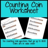 Counting Coin Worksheet (Penny-Quarter) for Primary grades