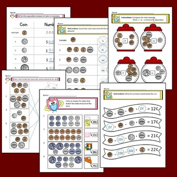 Counting Coins Worksheets with Answer Keys