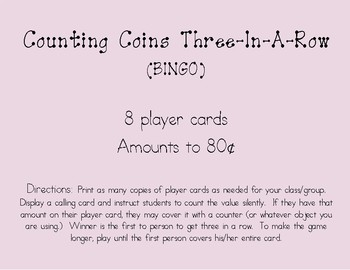 Counting Coins BINGO