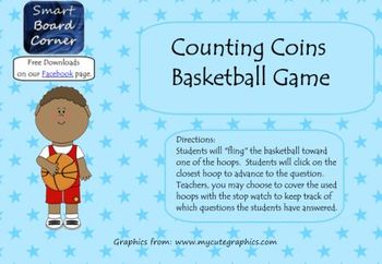 Money Counting Coins Basketball Game Smart Board Lesson