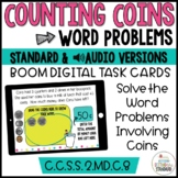 Money Word Problems involving Coins Boom Cards Distance Learning