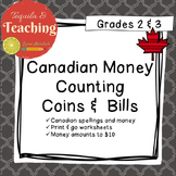 Counting Coins Canadian Money