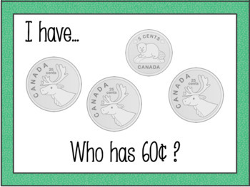Counting Coins - Canadian Money Game - I Have, Who Has