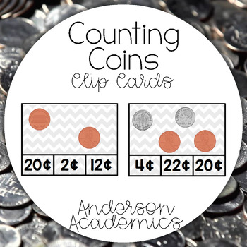 Counting Coins Clip Cards {2.MD.8}