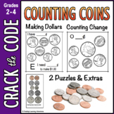 Money: Counting Coins & Making a Dollar - Crack the Code Math Practice