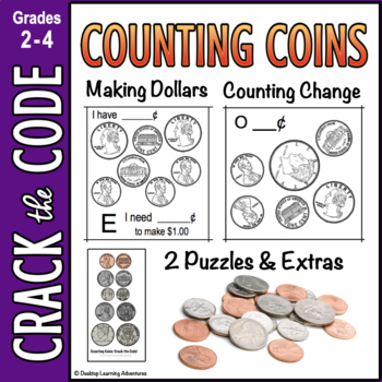 Money : Counting Coins & Making a Dollar - Crack the Code Math Worksheets
